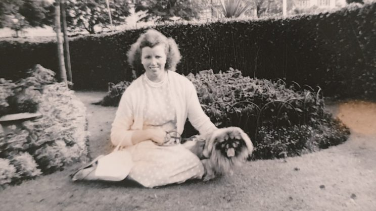 My grandmother with her small dog