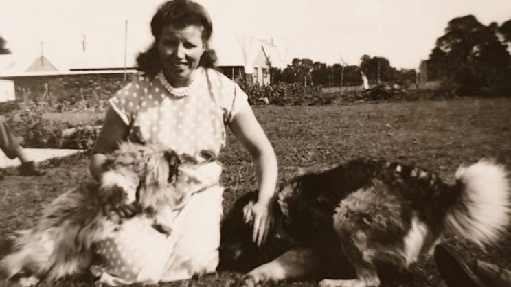 My grandmother with dogs